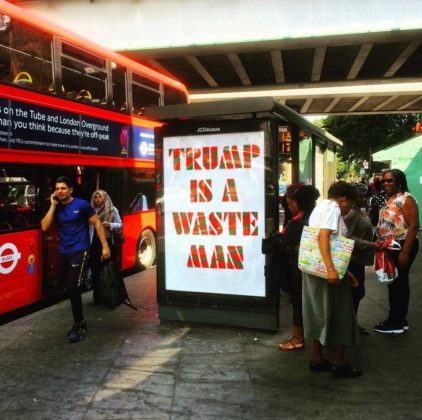 Bus Stop Ads by Protest Stencil in the UK